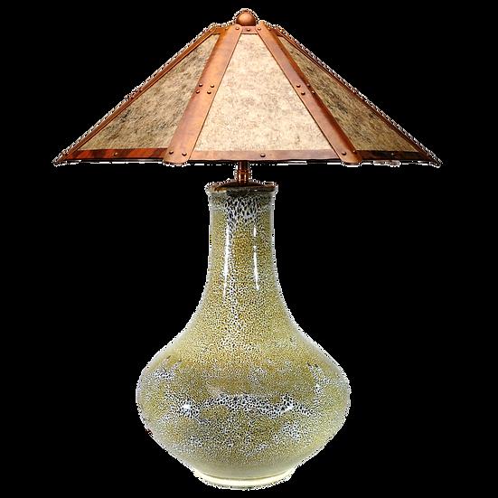 """#41507 """"oilspot"""" lamp w/ copper & mica shade"""