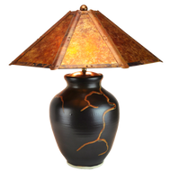 """#71312 """"roots"""" lamp with amber shade"""
