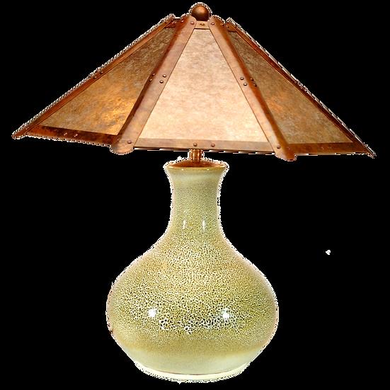 """#41508 """"oilspot"""" lamp w/ clear silver mica shade"""