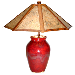 """#21412 """"oxblood"""" lamp with copper stained mica shade"""