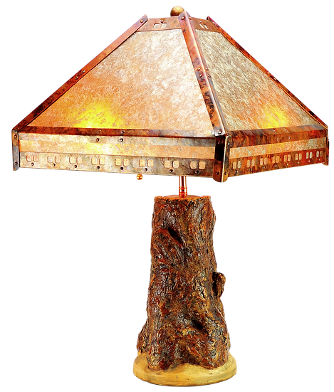Tree Lamp Base w/ Copper and Mica Shade #31608