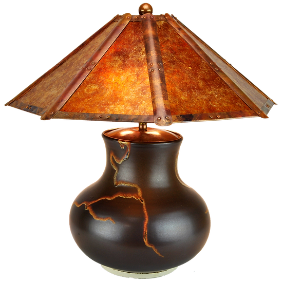 """#71302 """"roots"""" lamp w/ copper & mica shade"""