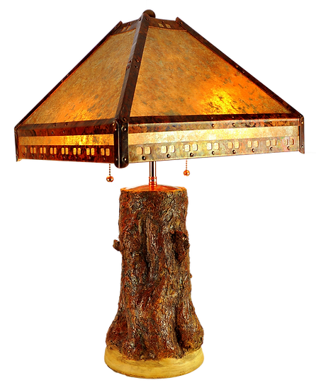 Tree Lamp Base w/ Copper and Mica Shade #31607