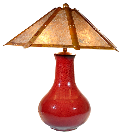 "#61330 ""oxblood"" lamp w/ copper & mica shade"