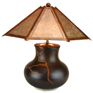 """#71302 """"roots"""" lamp base with amber shade"""
