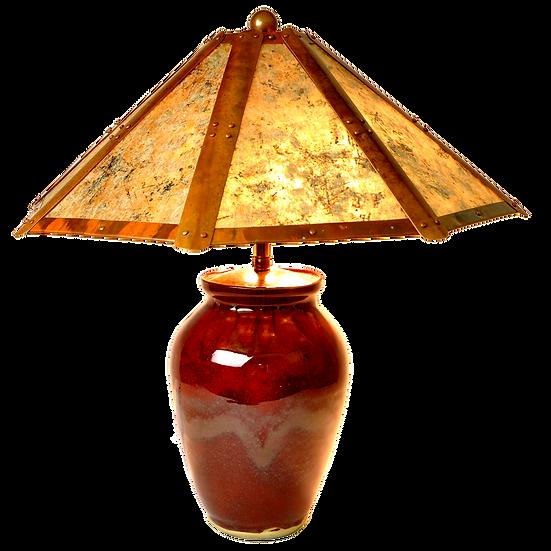 "#21412 ""oxblood"" lamp w/ copper & mica shade"