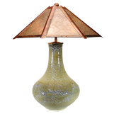 """#41507 """"oilspot"""" lamp with clear silver mica shade"""
