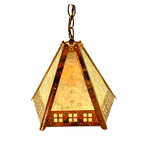 """5 panel hanging pendant """"window pane"""" detail, clear silver mica"""