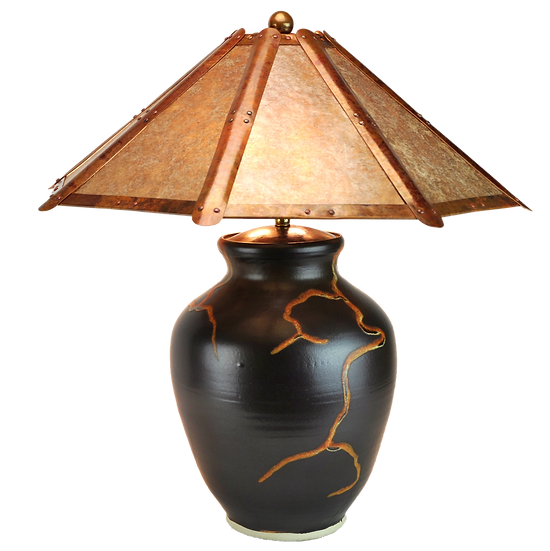 "#71312 ""roots"" lamp w/ copper & mica shade"