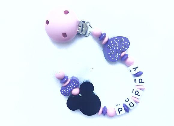 Attache sucette bebe personnalisée Minnie Rose violet fille