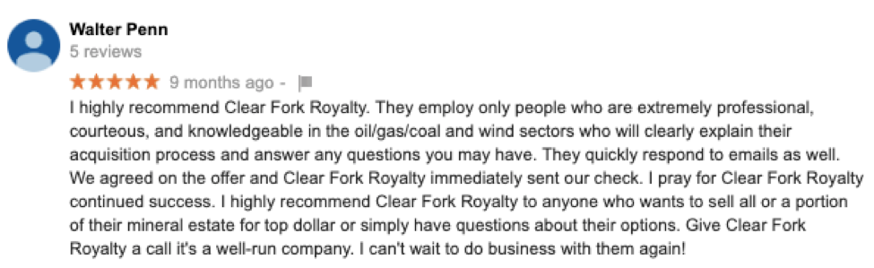 Google Review for Mineral Rights Services for Clear Fork Royalty