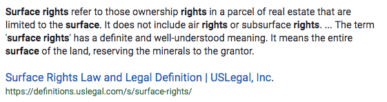 Screenshot Definition of Surface Rights