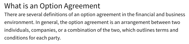 Option Agreement Definition Screenshot