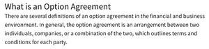 Option Agreement Definition Screenshot