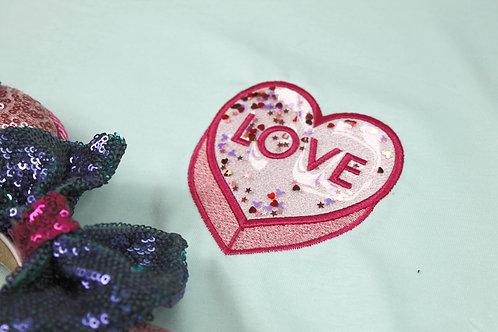 Sparkle Love Heart Hood