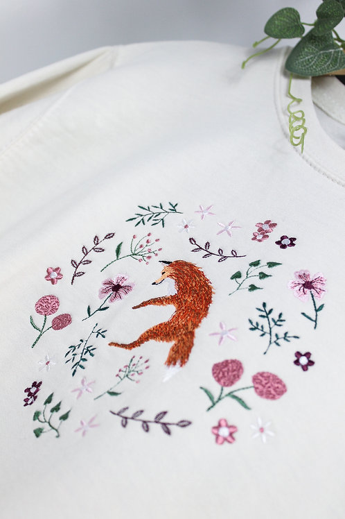 Floral Fox hand dyed jumper or hood