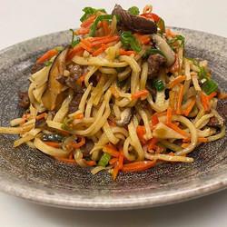 Beef Tsuivan (handmade, pan-fried Mongol