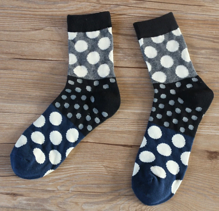 NAVY / GREY /WHITE POLKA DOT SOCKS