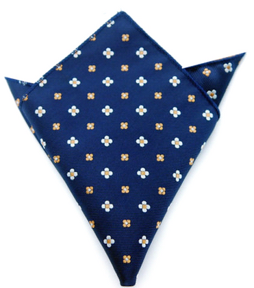 NAVY WITH DAISIES POCKET SQUARE