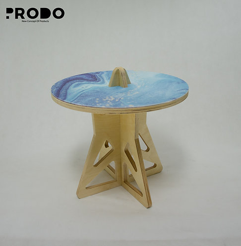 Plain Twin Table Short Body & Acrylic Cover - Baby Blue Marble