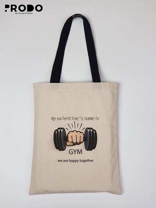Tote Bag - my valentine's name is Gym Design