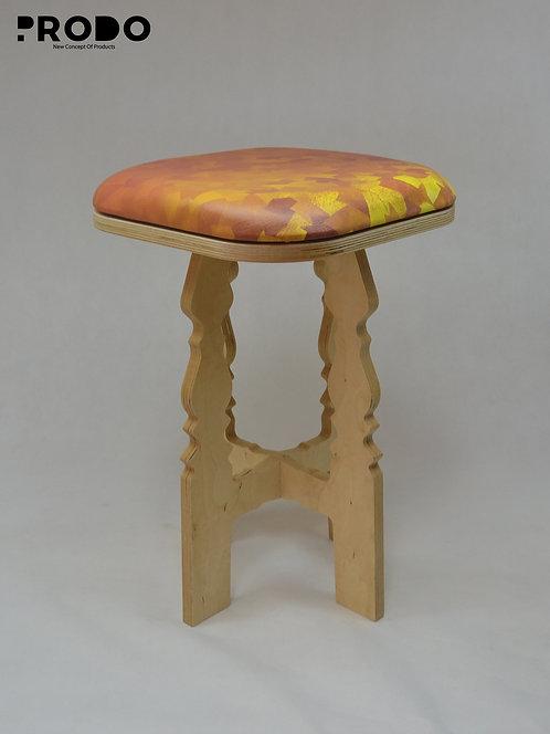 Mashrabya Leather Seat -  Golden Pattern Design