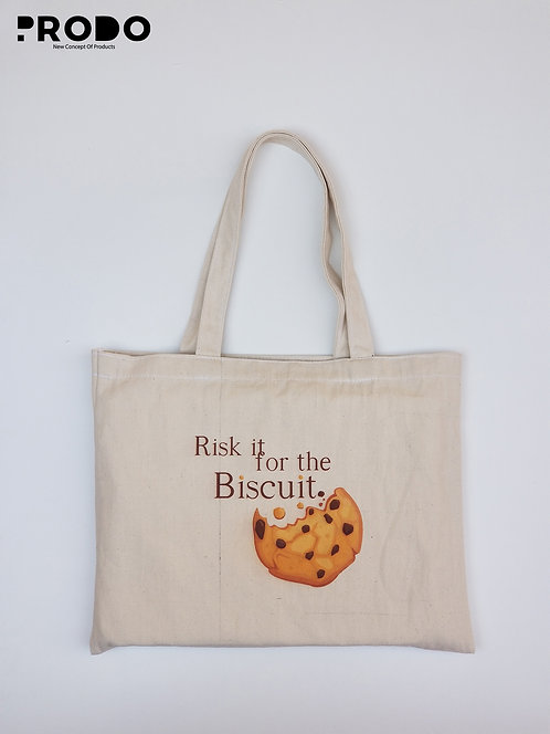 Tote Bag - Risk it for the Biscuit. Design