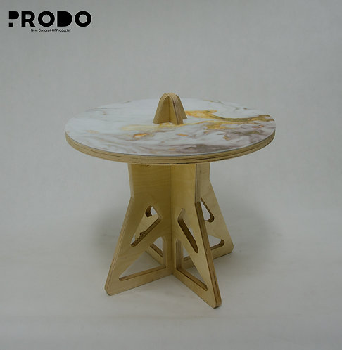 Plain Twin Table Short Body & Acrylic Cover - White/Gold Marble