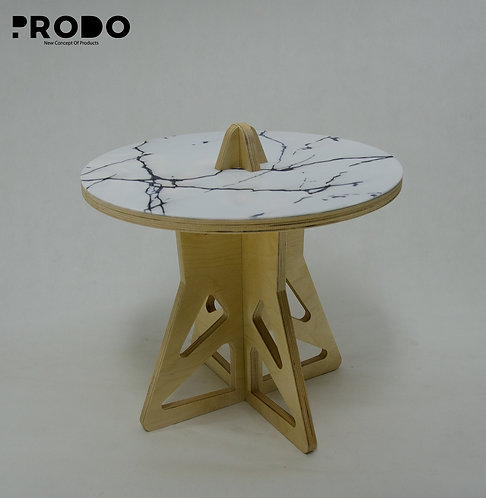 Plain Twin Table Short Body & Acrylic Cover - White/Black Marble
