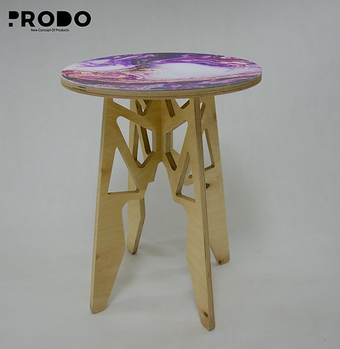 Plain Twin Table Long Body & Acrylic Cover - Purple/Gold Marble