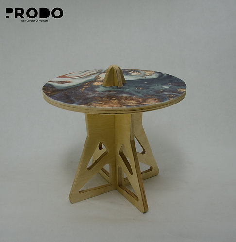 Plain Twin Table Short Body & Acrylic Cover - Olive/Gold Marble