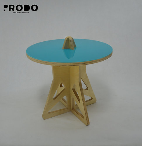 Plain Twin Table Short Body & Acrylic Cover - Turquoise