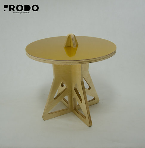 Plain Twin Table Short Body & Acrylic Cover - Gold