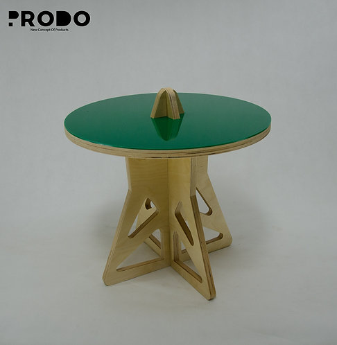 Plain Twin Table Short Body & Acrylic Cover - Green