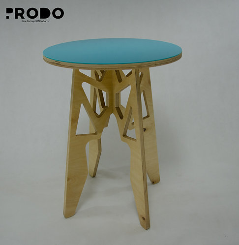 Plain Twin Table Long Body & Acrylic Cover - Turquoise
