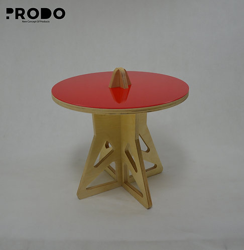 Plain Twin Table Short Body & Acrylic Cover - Red