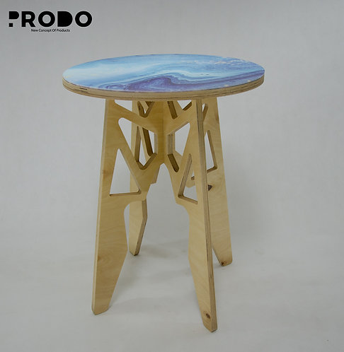 Plain Twin Table Long Body & Acrylic Cover - Baby Blue Marble