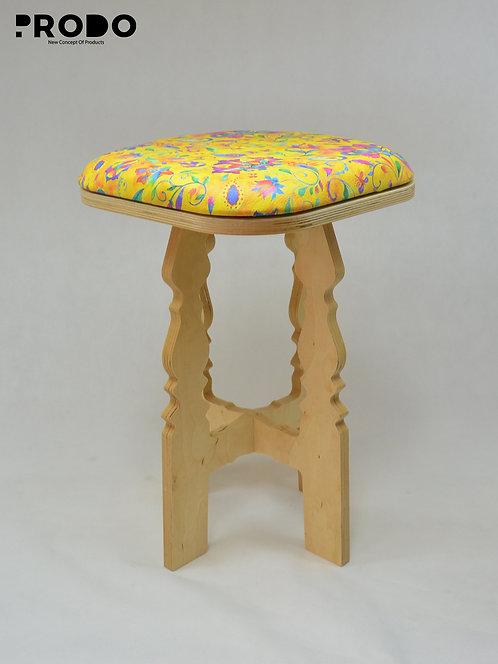 Mashrabya Leather Seat -  Yellow Floral Design