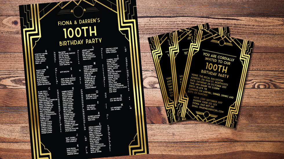 100th Birthday Party Seating Chart and Invitation Design