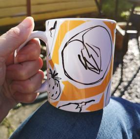 Tangerine Fruits & Roots mug