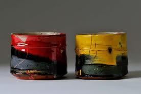 Little red and yellow pots by Barry Stedman