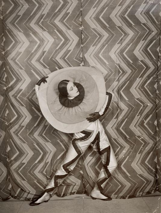 Pierrot-Éclair costume designed and worn by Sonia Delaunay, on the set of René Le Somptier's film Le P'tit Parigot 1926 © Bibliothèque nationale de France, Paris