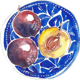 A small bowl of plums