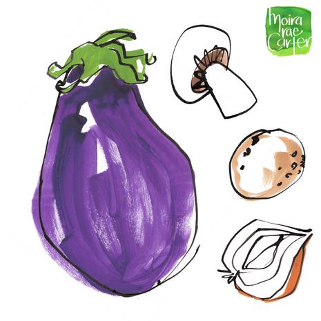 Aubergine, mushroom, potato & shallot