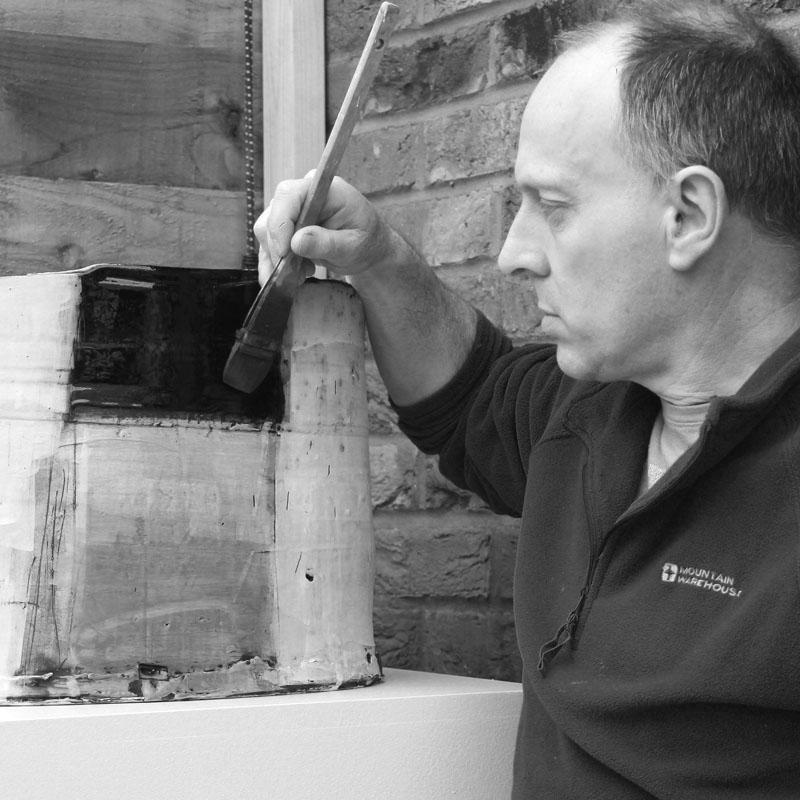 Artist at work - Barry Stedman making his wonderful pots.
