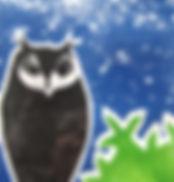 Owl by Starlight - monoprint