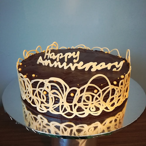 chocolate orange, lace cake, anniversary cake, gluten free