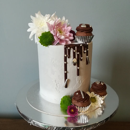 Fresh Flowers and Cupcakes Cake