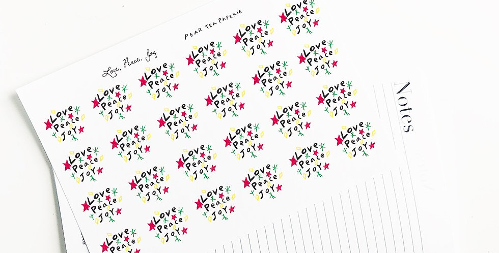 Love, Peace, Joy Stickers