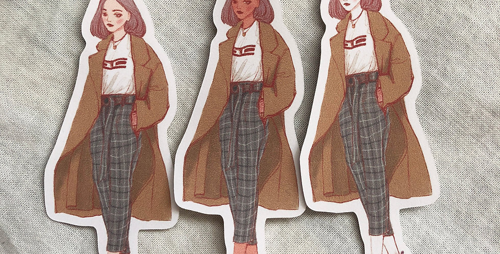 Autumn Days Girls 004 - 6 Die Cut Stickers